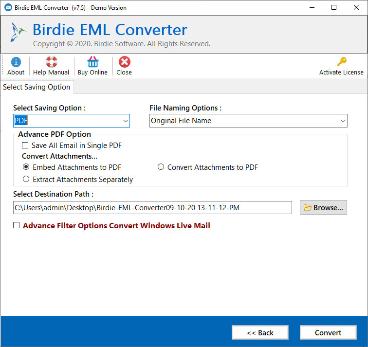 Convert Outlook Express to PDF